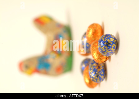 Chocolate Hen and Easter Eggs - Stock Photo