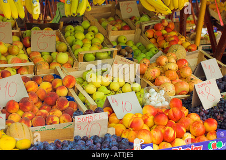 Fruit and veg at market stall in old town section of Zadar Croatia - Stock Photo