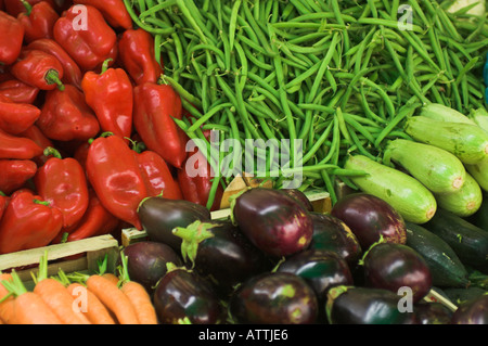 Close up Fruit and veg at market stall in old town section of Zadar Croatia - Stock Photo