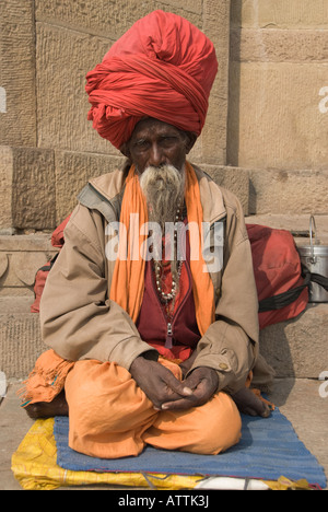 Close up of an Indian sadhu with turban and flowing mustache and beard. - Stock Photo