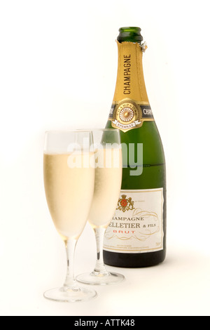 drink two glasses of chilled champagne with bottle - Stock Photo