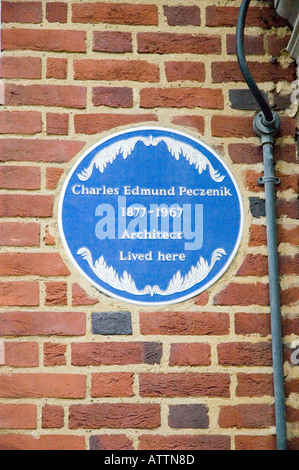 Blue plaque on the London home of Charles Edmund Peczenik architect - Stock Photo