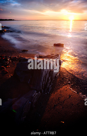 sunrise on saint laurent river - Stock Photo