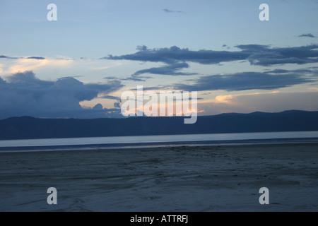 Africa Tanzania sunset over Lake Manyara National Park - Stock Photo