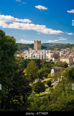 Richmond Town and Castle from Maison Dieu North Yorkshire England - Stock Photo