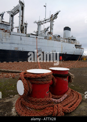 An ex-US Navy ship awaiting demolition at the TERRC facility in Hartlepool Co. Durham, UK - Stock Photo