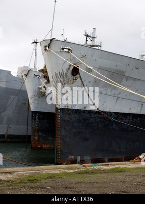 Ex US Navy ships awaiting demolition at the TERRC facility in Hartlepool Co. Durham, UK - Stock Photo