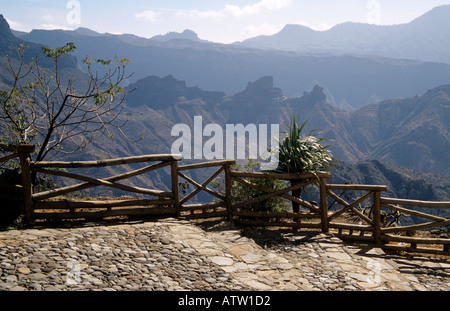ARTENARA GRAN CANARIA CANARY ISLANDS February View towards Roque Bentaiga from this highest village on the island - Stock Photo
