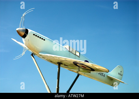 Model Of the Original Prototype Spitfire Outside Southampton Eastliegh Airport - Stock Photo