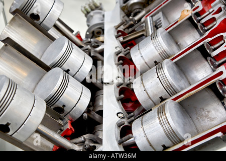 Model of a 90 degrees v-engine - Stock Photo