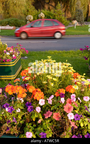 Floral display on motorway roundabout in Newport South Wales UK EU - Stock Photo