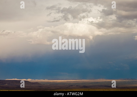 Thunder and lightning storm over plains surrounding Fish River Canyon in southern Namibia - Stock Photo
