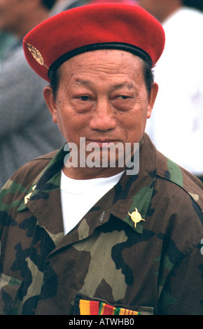Hmong American soldier age 55 protesting trade to Laos without humanitarian aid. St Paul Minnesota USA - Stock Photo