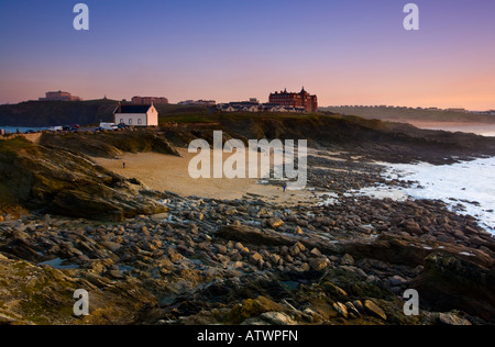 Sunset at Towan Head with Little Fistral in the foreground Newquay Cornwall UK - Stock Photo