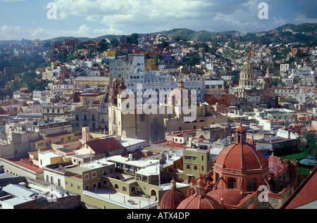 View of the city of Guanajuato, Mexico, from the El Pipila monument lookout - Stock Photo