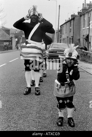Britannia Coconut Dancers from Bacup in Lancashire - Stock Photo