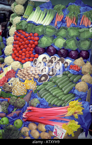 Vegetables on display on a market stall, England - Stock Photo