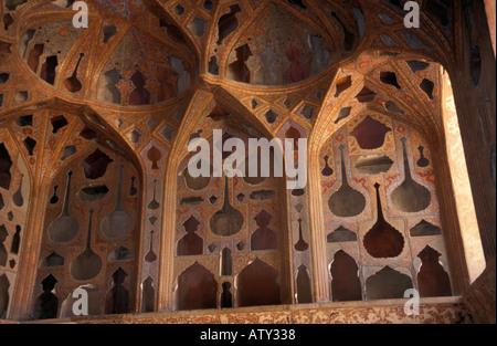 The sound room in Ali Qapu palace Imam square Isfahan, Iran - Stock Photo