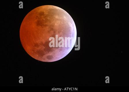 Total lunar eclipse taken through proffesional class telescope on 03/03/2007 - Stock Photo