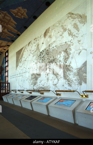 Cambridge American Cemetery Memorial chapel interior museum section wall map records air sorties flown from East - Stock Photo