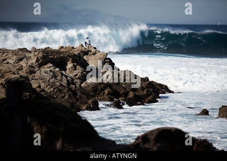 Waves Crash by Man on Rocky Peninsula in Carmel-by-the-Sea, Monterey County, California, USA - Stock Photo