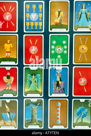 a pack set deck of colourfule tarot cards used for runes fortune telling predictiong future mystical magicians fete - Stock Photo