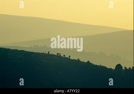 South West Uganda at dawn, near Lake Bunyonyi, Uganda - Stock Photo