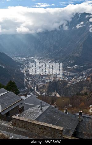 Aerial view of Andorra la Vella - Stock Photo