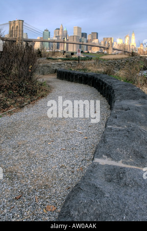 main street Park of Brooklyn by East River between Brooklyn and Manhattan Bridge with view on Manhattan. - Stock Photo