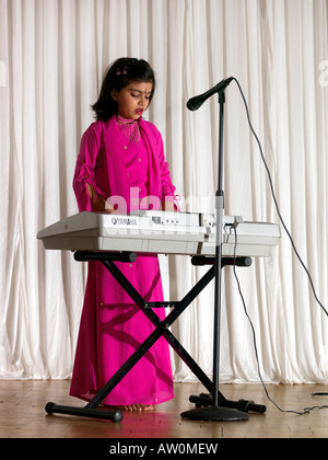 Diwali Wandswoth Town Hall London Girl Playing the Keyboard - Stock Photo