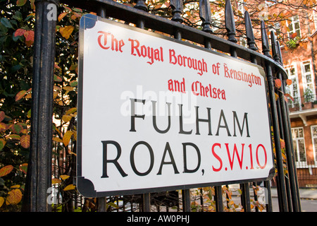 Fulham Road London SW10 street name sign - Stock Photo