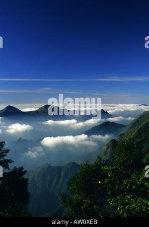High view from Devil s Kitchen towards Pillar Rocks Valley in Kodaikanal Hill Station South India - Stock Photo