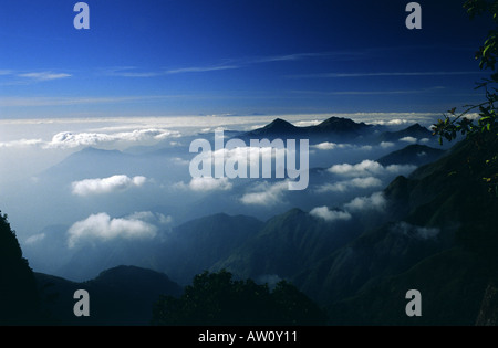 High view from Devil s Kitchen towards Pillar Rocks Valley in Kodaikanal Hill Station South India - Stock Photo