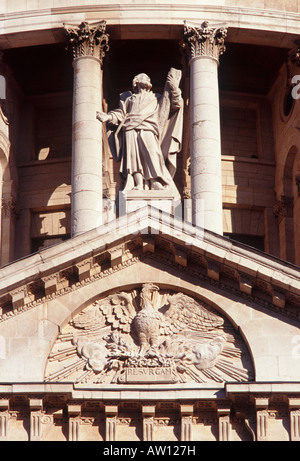 St Paul's Cathedral architectural detail: Phoenix rising from flames (sculptor Caius Cibber, 1698), City of London, - Stock Photo
