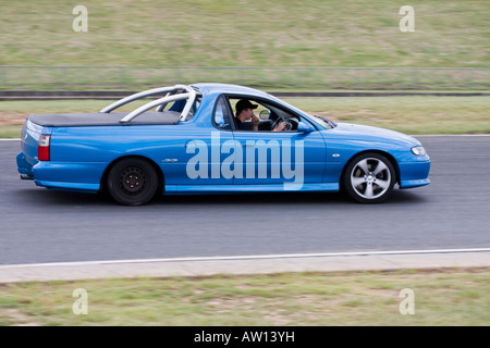 Holden Commodore Utility (called a pick up truck  in America) on Eastern Creek Racetrak in NSW, Australia - Stock Photo