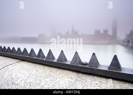 Looking across the Thames river towards the House Of Parliament from Albert Embankment London city England UK - Stock Photo