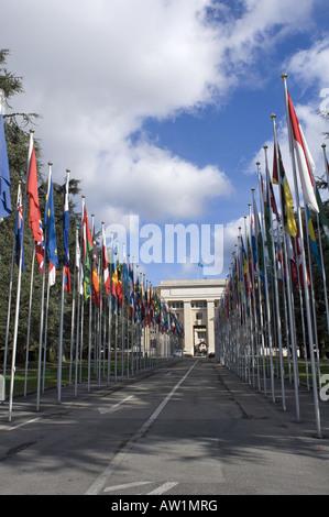 United Nations in Geneva Switzerland UN - Nations Unis Geneve Suisse ONU - Stock Photo