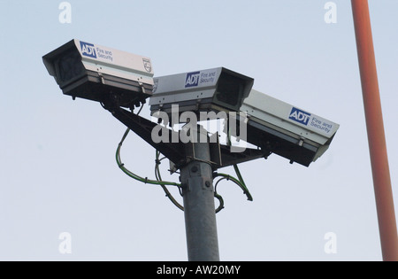 CCTV cameras in a railway car park UK - Stock Photo