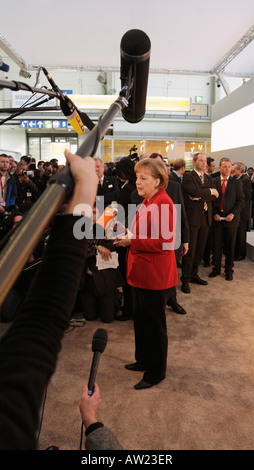 CEBIT 2008 - German chancellor Angela Merkel talks to journalists - Stock Photo
