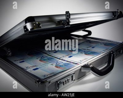 Briefcase full of twenty euro notes - Stock Photo