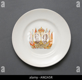 plate commemorating the royal coronation of King George VI and Queen Elizabeth in 1937