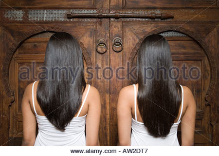 Rear view of sisters at a wooden door - Stock Photo