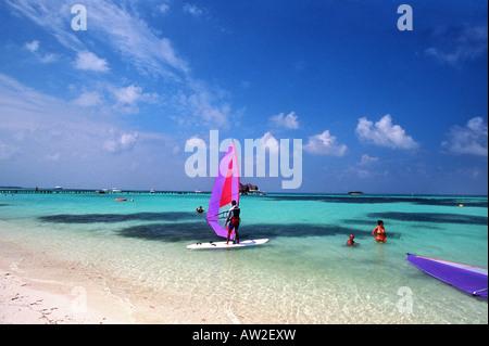 Windsurfers in Club Med, North Male Atoll, Maldives - Stock Photo