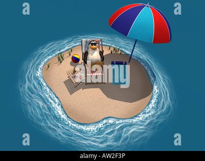 Symbol picture for the melted polar caps and icebergs as effect of climate warming - Stock Photo