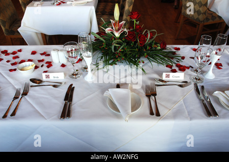 Winter Wonderland Wedding Reception Room · Place Settings For Bride And  Groom At The Top Table Of A Wedding Reception   Stock
