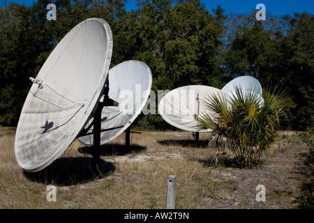 Four satellite dish antennas pointing towards the sky, Jekyll Island, Georgia, USA - Stock Photo