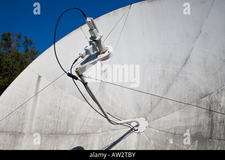 Satellite dish antenna pointing towards the sky, Jekyll Island, Georgia, USA - Stock Photo