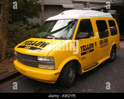 AJD59665, yellow taxi cab, Hilton Head Island, Low Country, South Carolina, SC, Atlantic Ocean - Stock Photo