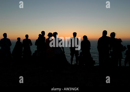 People watching sunset from Cape St. Vincent or Cabo de Sao Vicente on the so-called Costa Vicentina in Algarve, - Stock Photo
