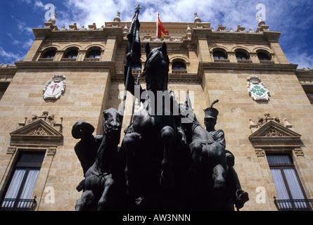 Alcántara Hunters statue and Academia de Caballería VALLADOLID Castile Leon region SPAIN - Stock Photo